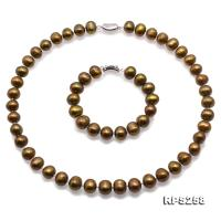 Beautiful 11-12mm Bronze  Pearl Necklace and Bracelet RPS258