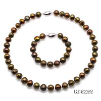 Beautiful 11-12mm Greenish Brown Pearl Necklace and Bracelet RPS259