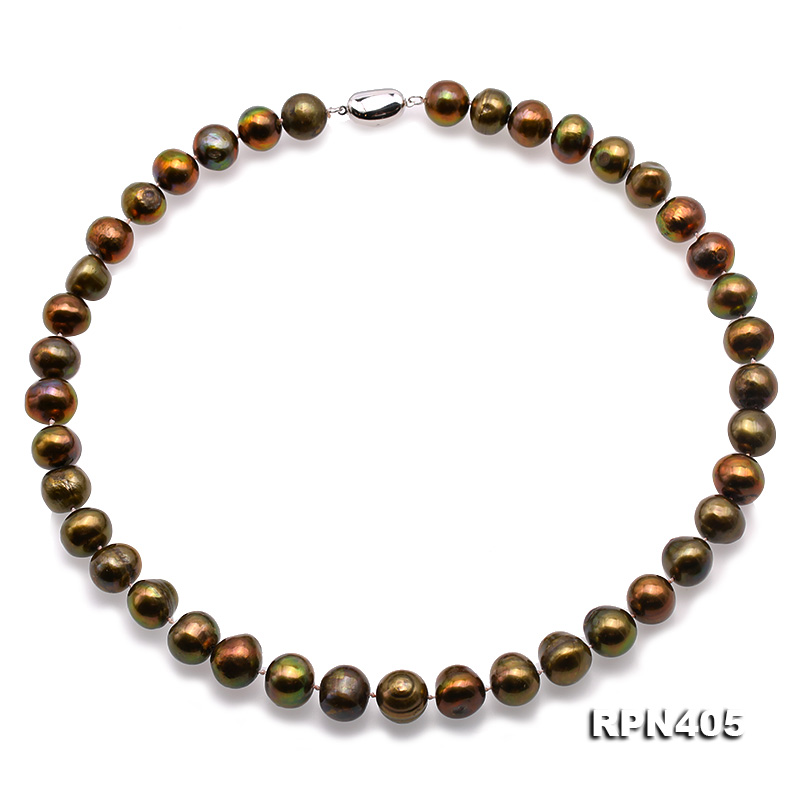 Beautiful 11-12mm Greenish Brown Pearl Necklace big Image 1