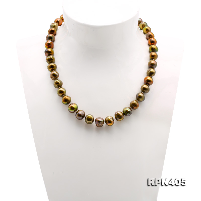 Beautiful 11-12mm Greenish Brown Pearl Necklace big Image 2