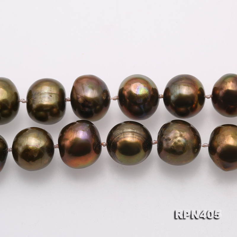 Beautiful 11-12mm Greenish Brown Pearl Necklace big Image 3
