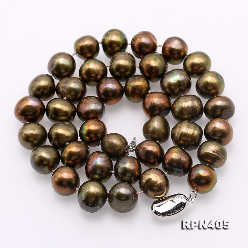 Beautiful 11-12mm Greenish Brown Pearl Necklace big Image 4