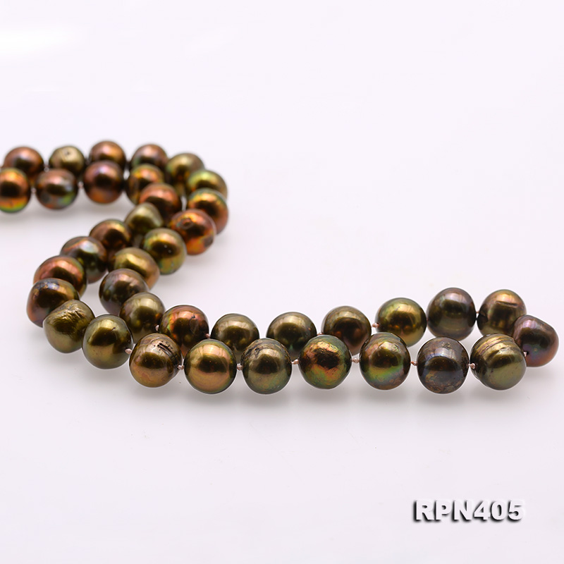 Beautiful 11-12mm Greenish Brown Pearl Necklace big Image 5