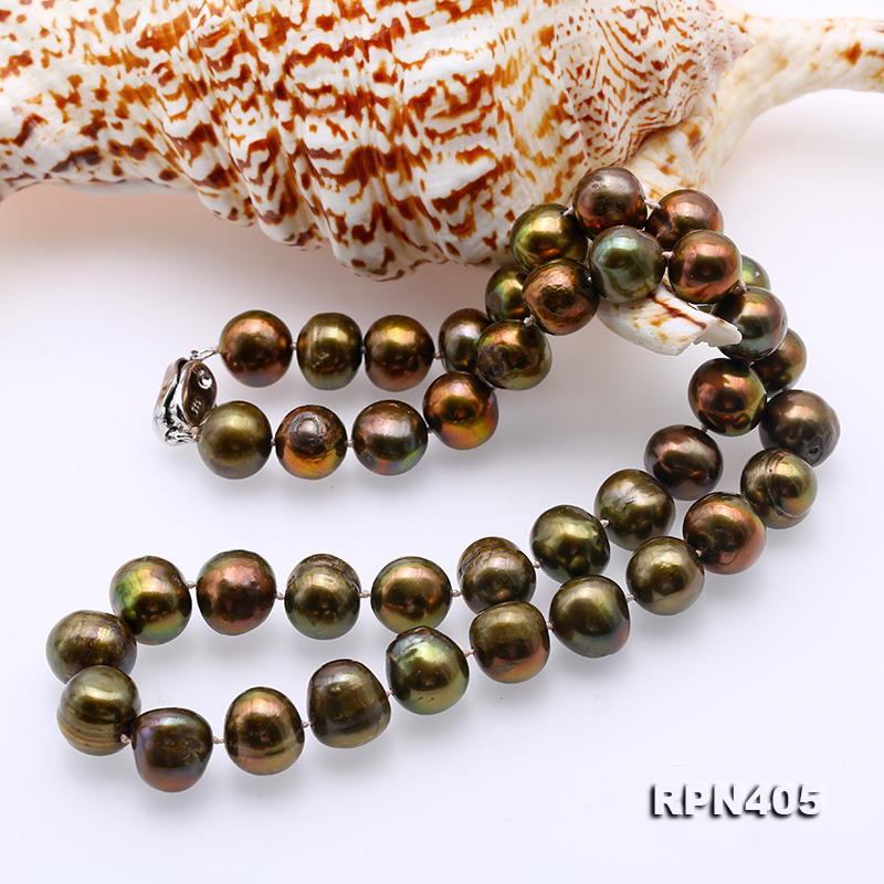 Beautiful 11-12mm Greenish Brown Pearl Necklace big Image 6