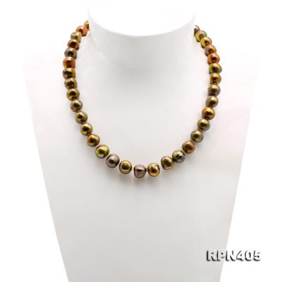 Beautiful 11-12mm Greenish Brown Pearl Necklace RPN405 Image 2