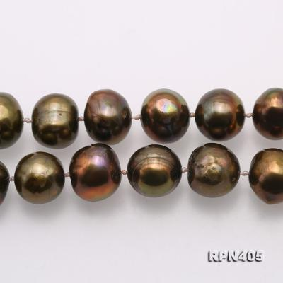 Beautiful 11-12mm Greenish Brown Pearl Necklace RPN405 Image 3