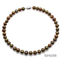 Beautiful 11-12mm Greenish Brown Pearl Necklace RPN405