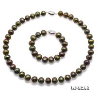 Beautiful 11-12.5mm Green Pearl Necklace and Bracelet RPS260