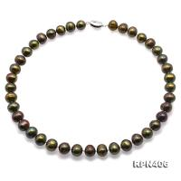 Beautiful 11-12.5mm Green Freshwater Pearl Necklace RPN406