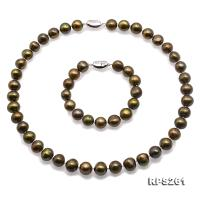 Beautiful 11-12mm Green Pearl Necklace and Bracelet RPS261