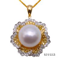 Stunning 16mm White South Sea Cultured Pearl Pendant in 18k Gold & Diamonds  SPP243