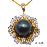 Luxurious 13.5mm Peacock Green Tahitian Pearl Pendant in 18k Gold & Diamonds  TPP212