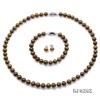 Beautiful 7.5-8.5 Greenish Brown Freshwater Pearl Necklace Bracelet Earrings Set RPS262