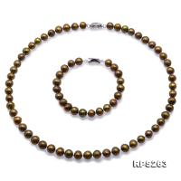 Beautiful 7.5-8.5mm Greenish Brown Freshwater Pearl Necklace and Bracelet RPS263