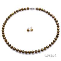 Beautiful 7.5-8.5mm Greenish Brown Freshwater Pearl Necklace and Earrings  RPS264