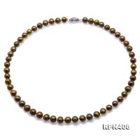Beautiful 7.5-8.5mm Greenish Brown FreshwaterRound Pearl Necklace  RPN408