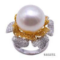 Gorgeous 15.5mm White  Round South Sea Pearl Ring in 18k Gold & Diamonds SSR072