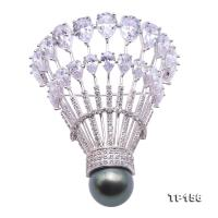 Luxurious Pearl Brooch Series---12.5mm Black Tahitian Pearl Badminton Brooch  TP156