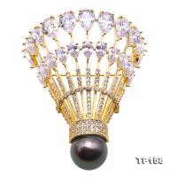 Luxurious Pearl Brooch Series---13mm Black Tahitian Pearl Badminton Brooch  TP158