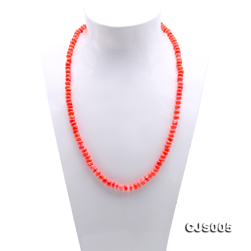 Beautiful 6.5-7.5mm Peach Oblate Coral Necklace & Bracelet big Image 3