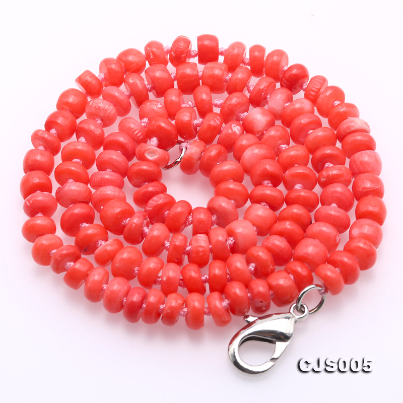 Beautiful 6.5-7.5mm Peach Oblate Coral Necklace & Bracelet big Image 5