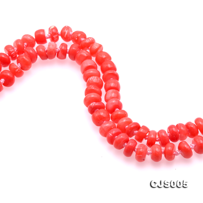 Beautiful 6.5-7.5mm Peach Oblate Coral Necklace & Bracelet big Image 7
