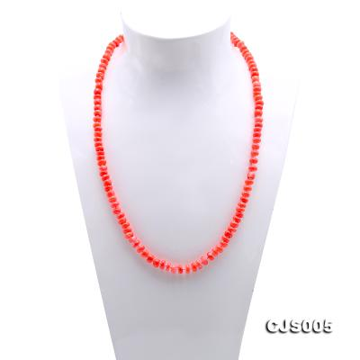 Beautiful 6.5-7.5mm Peach Oblate Coral Necklace & Bracelet CJS005 Image 3