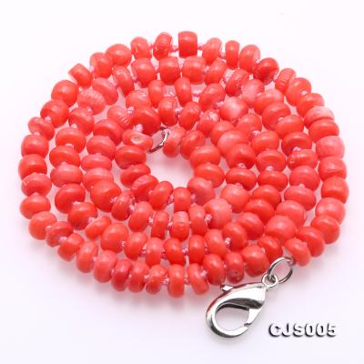 Beautiful 6.5-7.5mm Peach Oblate Coral Necklace & Bracelet CJS005 Image 5