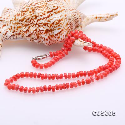 Beautiful 6.5-7.5mm Peach Oblate Coral Necklace & Bracelet CJS005 Image 6