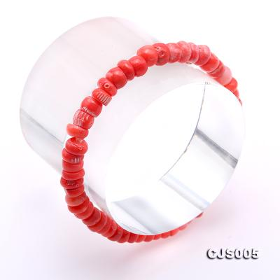 Beautiful 6.5-7.5mm Peach Oblate Coral Necklace & Bracelet CJS005 Image 10
