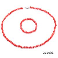 Beautiful 6.5-7.5mm Peach Oblate Coral Necklace & Bracelet CJS005