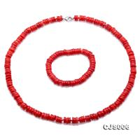 Beautiful 8-9mm Red Oblate Coral Necklace & Bracelet CJS006