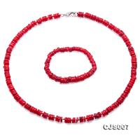 Beautiful 7-8mm Red Oblate Coral Necklace & Bracelet CJS007