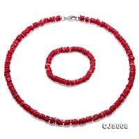 Beautiful 8-9mm Red Oblate Coral Necklace & Bracelet CJS008