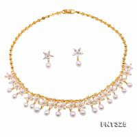 Exquisite 6.5-7.5mm White Freshwater Pearl Necklace & Earrings FNT325