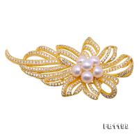 Delicate Zircon-inlaid 5-5.5mm White Freshwater Pearl Brooch/Pendant FB1199