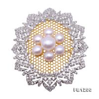 Delicate Zircon-inlaid 6-7.5mm White Freshwater Pearl Brooch/Pendant FB1200