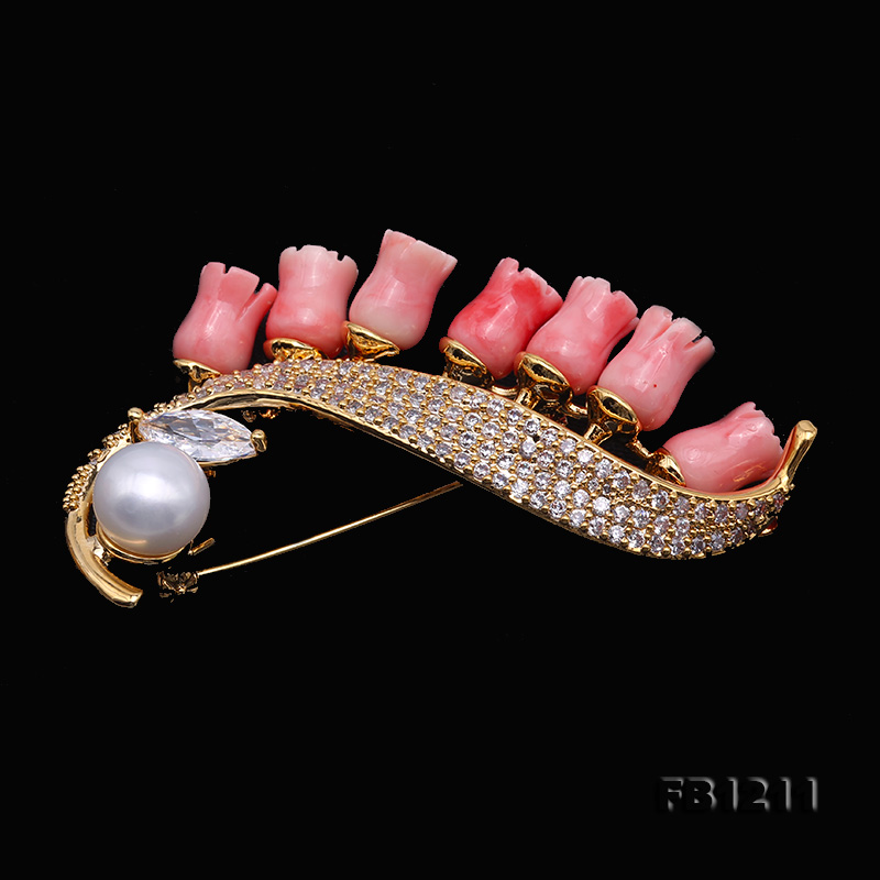 Fine Pink Coral Rose & 9mm White Freshwater Pearl Brooch/Pendant big Image 5
