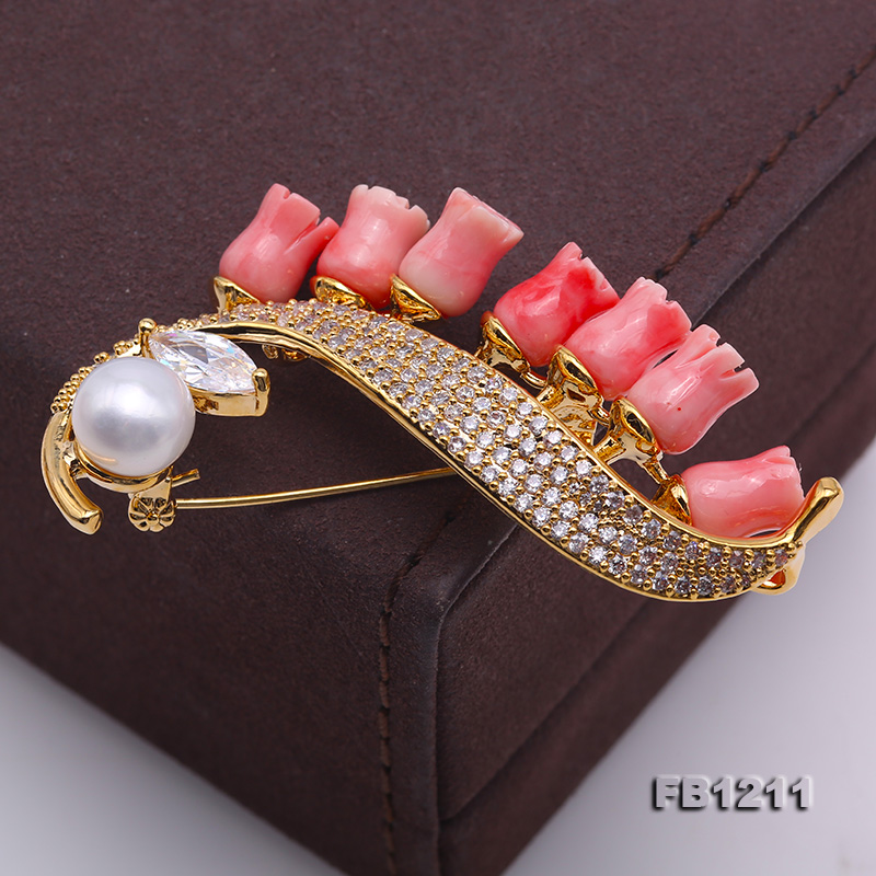 Fine Pink Coral Rose & 9mm White Freshwater Pearl Brooch/Pendant big Image 7
