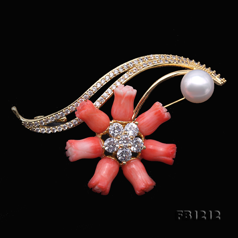 Fine Pink Coral Rose & 9.5mm White Freshwater Pearl Brooch/Pendant big Image 5