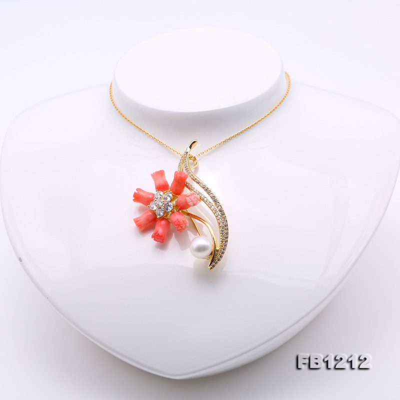 Fine Pink Coral Rose & 9.5mm White Freshwater Pearl Brooch/Pendant big Image 6
