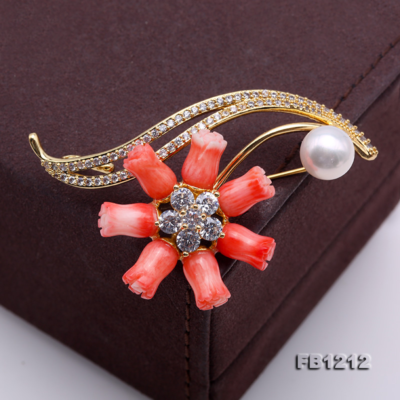 Fine Pink Coral Rose & 9.5mm White Freshwater Pearl Brooch/Pendant big Image 7