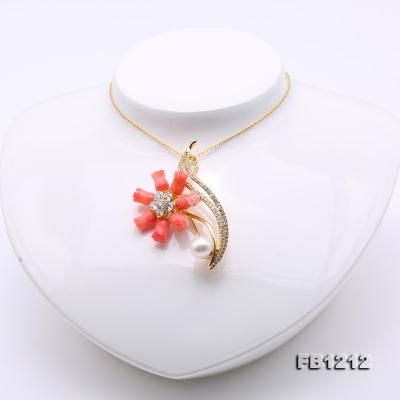 Fine Pink Coral Rose & 9.5mm White Freshwater Pearl Brooch/Pendant FB1212 Image 6