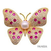 8.5mm High Quality Butterfly Freshwater Pearl Brooch/Pendant FB1224