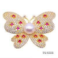 10mm High Quality Butterfly Freshwater Pearl Brooch/Pendant FB1225