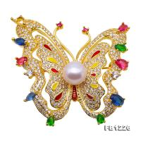 9mm High Quality Butterfly Freshwater Pearl Brooch/Pendant FB1226