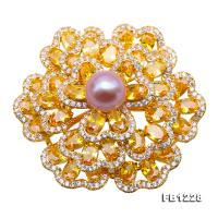 Exquisite 10mm Natural Freshwater Pearl Flower-shaped Brooch/Pendant FB1228