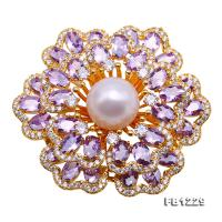 Exquisite 11.5mm Natural Freshwater Pearl Flower-shaped Brooch/Pendant FB1229