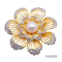 Exquisite 11mm Natural Freshwater Pearl Flower-shaped Brooch/Pendant FB1230