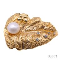 Exquisite Leaf-shape 11mm Freshwater Pearl Brooch FB863